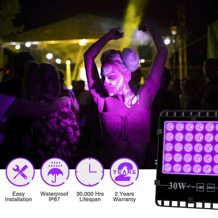 UV LED Blacklight 2 Pack 30W Waterproof Flood Light,  Outdoor Floodlight for Black light Party, Stage Lighting, Fluorescent Poster, Body Paint, Glow in Dark, Night Club