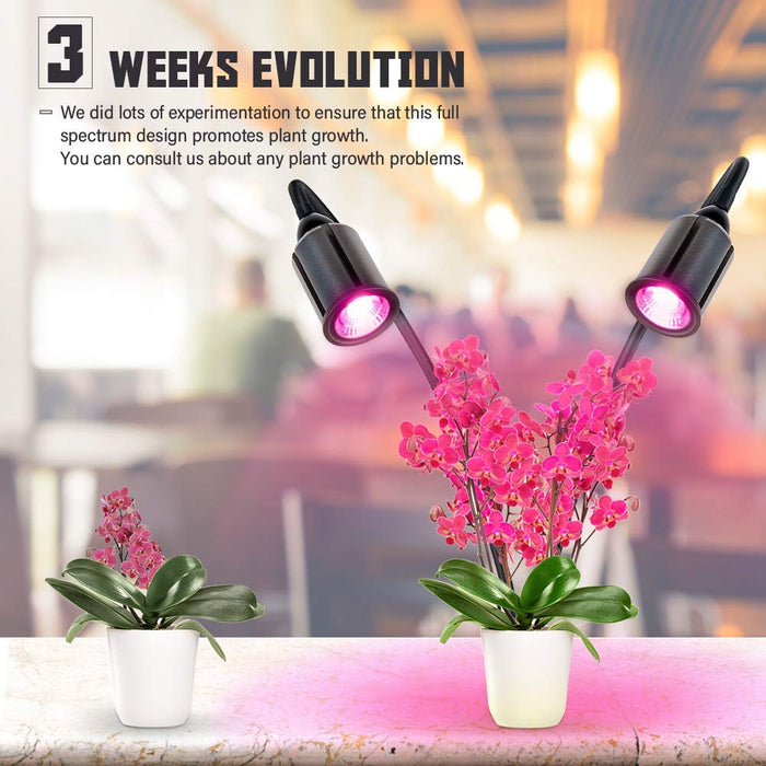 COB LED Plant Grow Lights Relassy 75W Full Spectrum Grow Light for Indoor Plants, Indoor Plants light with Auto on/off, 3/6/12H Timer, 4 Dimmable Function, Dual Head Grow Lamp, Flexible Gooseneck Pink