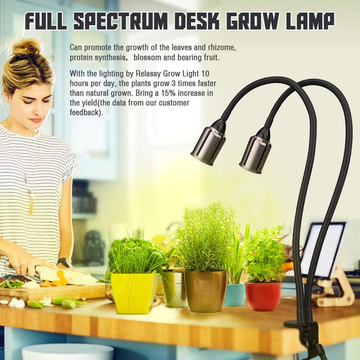 LED Grow Light for Indoor Plants 75W Sunlike Full Spectrum Plants Lights 3/6/12H Timer CREE COB Grow Lamp - Dual Head Flexible Gooseneck – 4 Dimmable Lights for House Plants