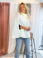 Knitted Poncho - White