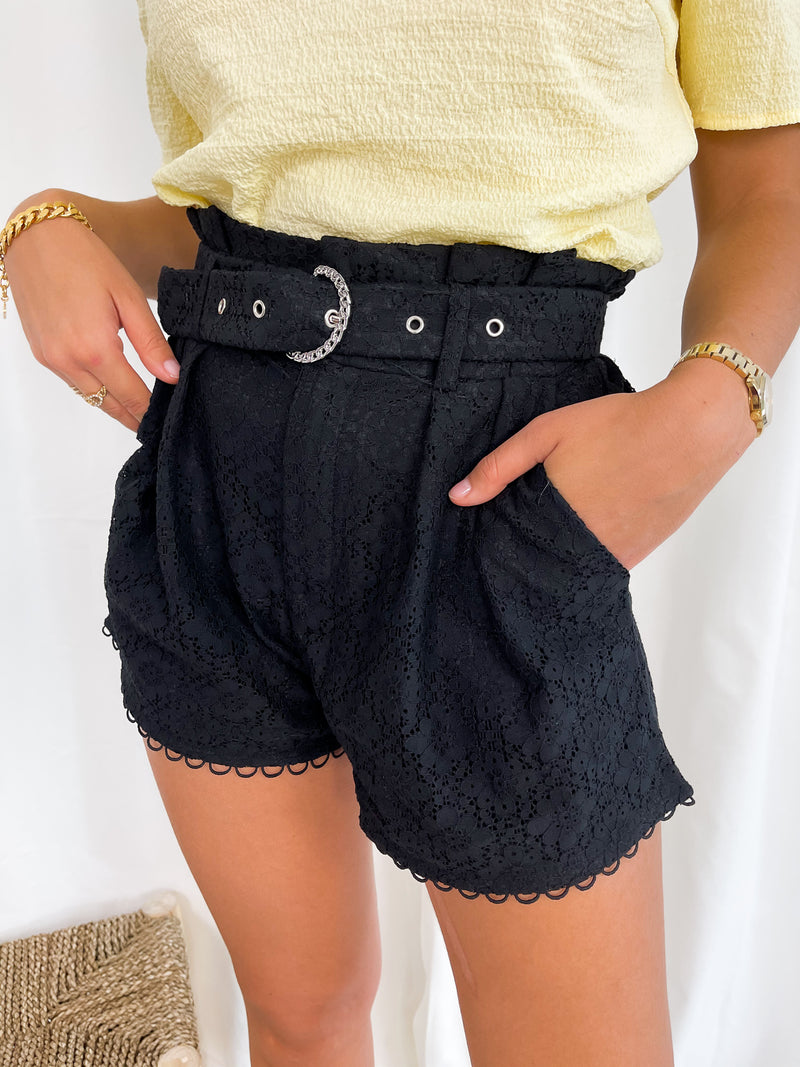 Embroidery Flower Shorts - Black