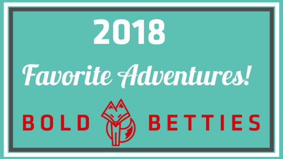 2018 Favorite Adventures! A teal box with a bright red Bold Betties Logo!