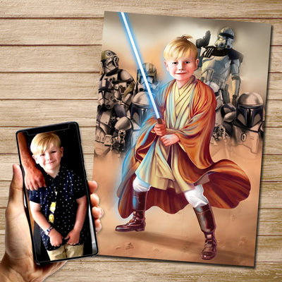 Blue Jedi Custom Canvas Mural Heroes Digital Artwork only (no canvas)