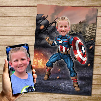 Captain America - Custom Canvas Mural Heroes Digital Artwork Only (No canvas)