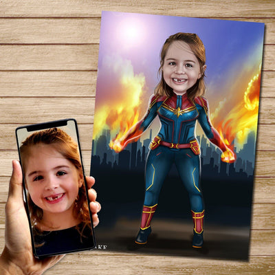 Captain Marvel Custom Canvas Mural Heroes Digital Artwork only (NO CANVAS)