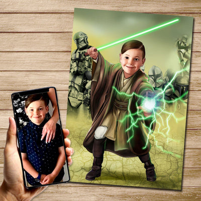 Green Jedi Custom Canvas Mural Heroes Digital Artwork only (no canvas)