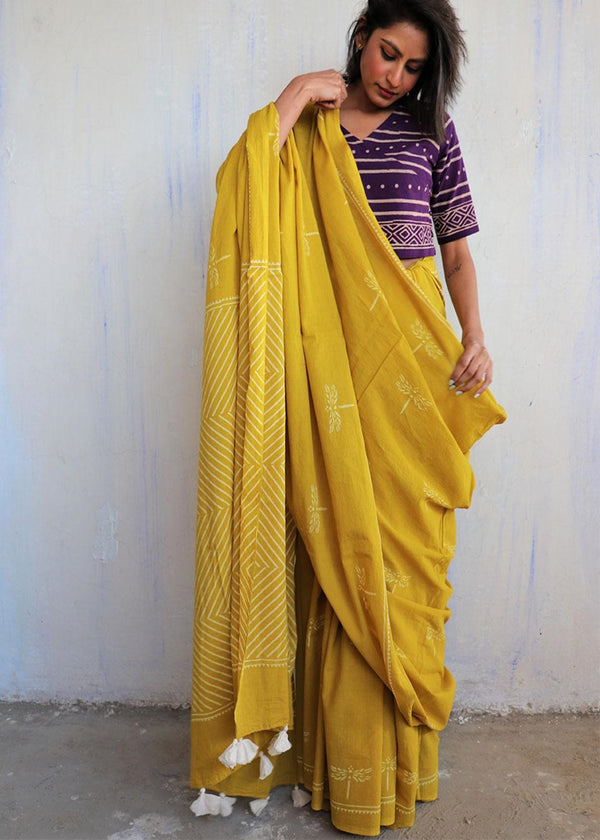 Yellow Dragonfly Block Printed Cotton Mulmul Saree-ButterflyGirls