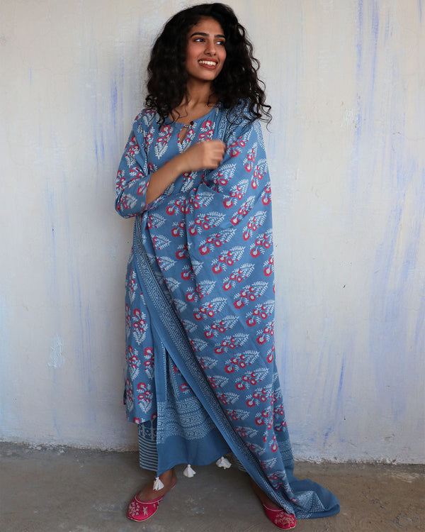 Sky Blue Block Printed Cotton Dupatta -Easy