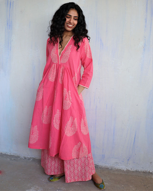 Pink Block Printed Cotton Kurta Set Of 2 -Easy
