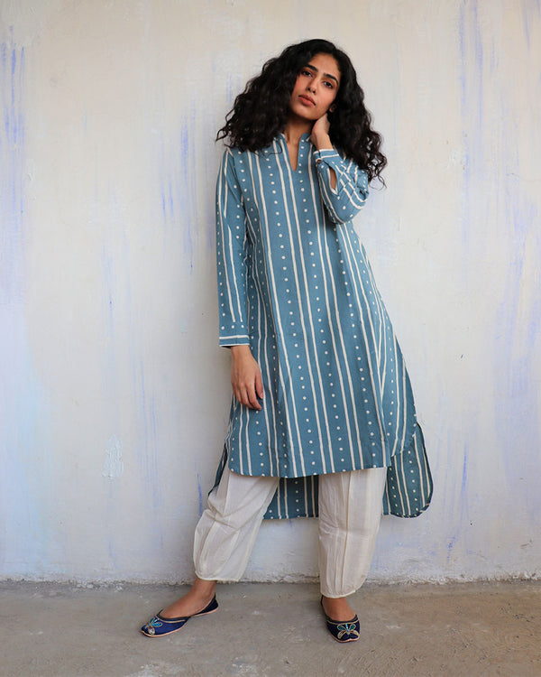 Blue & White Block Printed Cotton Kurta Set Of 2 -Easy