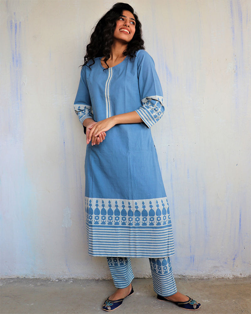 Blue Block Printed Cotton Kurta Set Of 2 -Easy