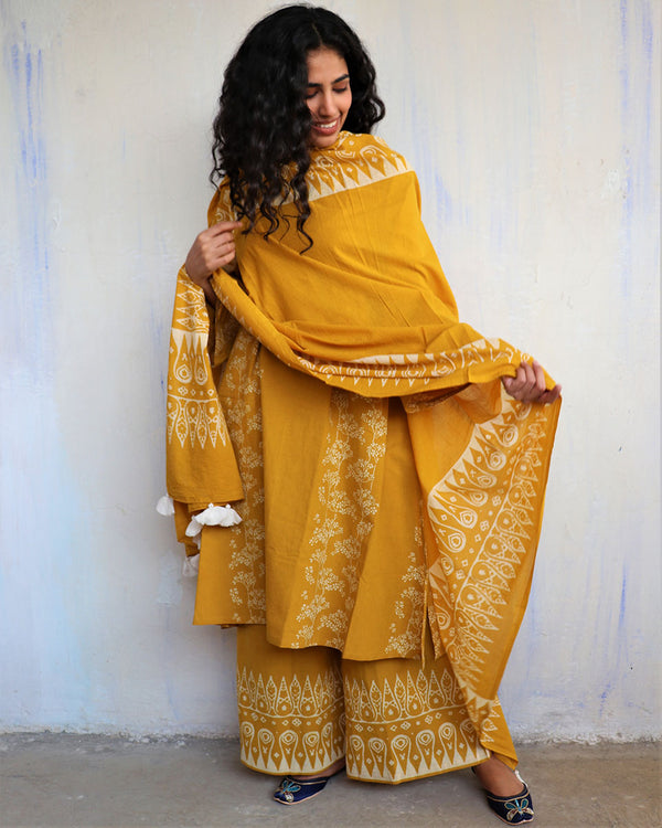 Yellow Block Printed Cotton Dupatta -Easy