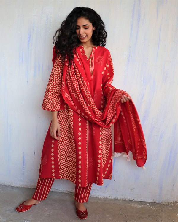 Red Block Printed Cotton Dupatta -Easy