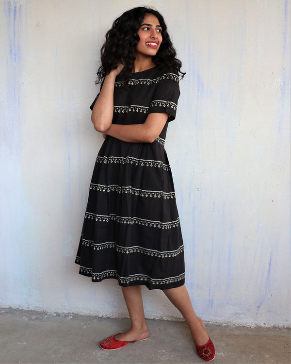 Black Handprinted Pure Cotton Dress