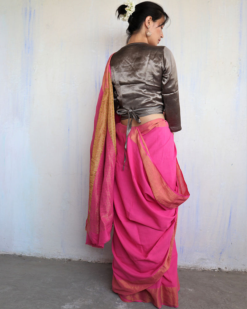Pink Handwoven Cotton Zari Saree - Sahar