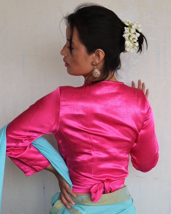 Pink Tie-up Mashru Silk Blouse - Sahar