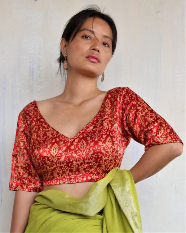 Red Blockprinted Tie-up Mashru Silk Blouse - Sahar
