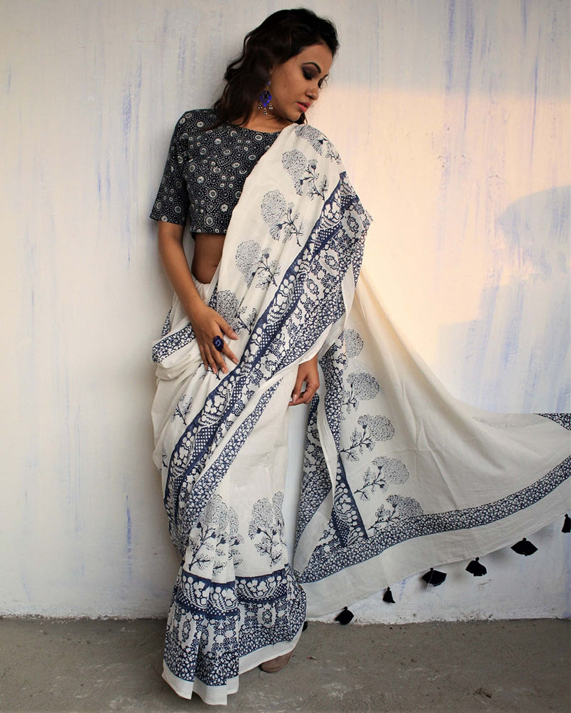 Ivory Blue Block Printed Cotton Mul Saree