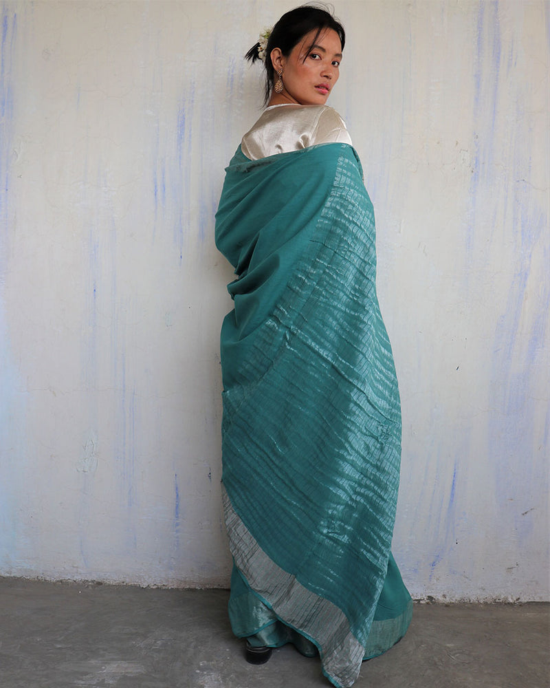 Turquoise Handwoven Cotton Zari Saree - Sahar