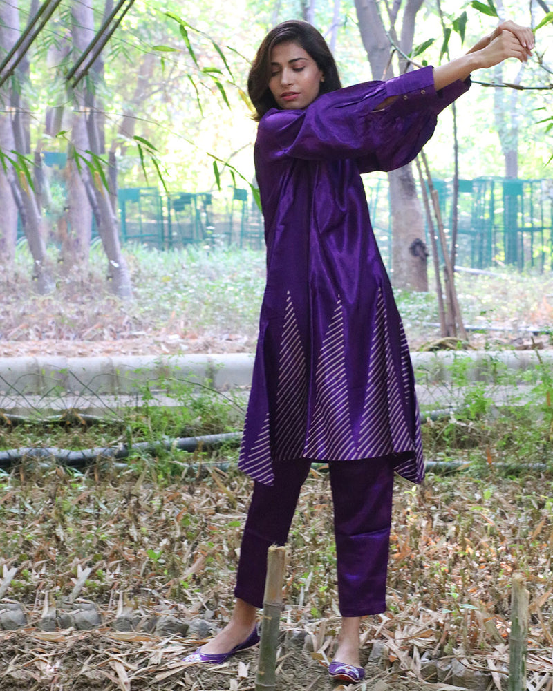 PURPLE BLACKPRINTED MASHRU KURTI SET OF 2