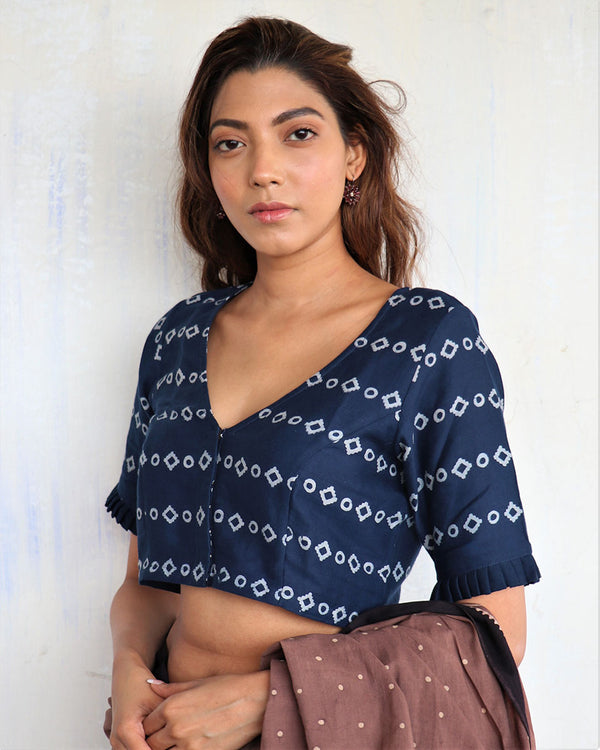 Blue Blockprinted cotton blouse