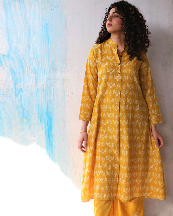 Sunshine Yellow Block Print Cotton Kurta Set