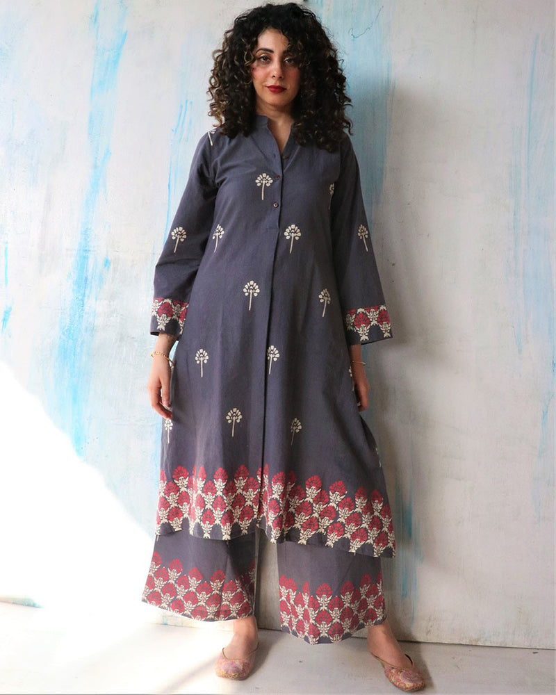 Grey Block Print Cotton Kurta Set