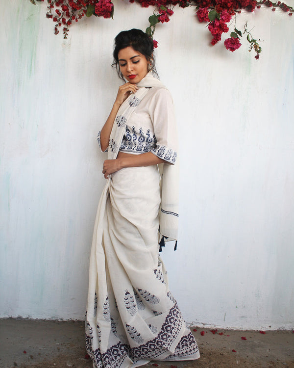 Ivory Blue-Purple Block Printed Cotton Mul Saree