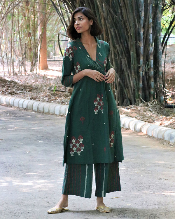Green Block Printed Cotton Kurti Set of 2 -Easy