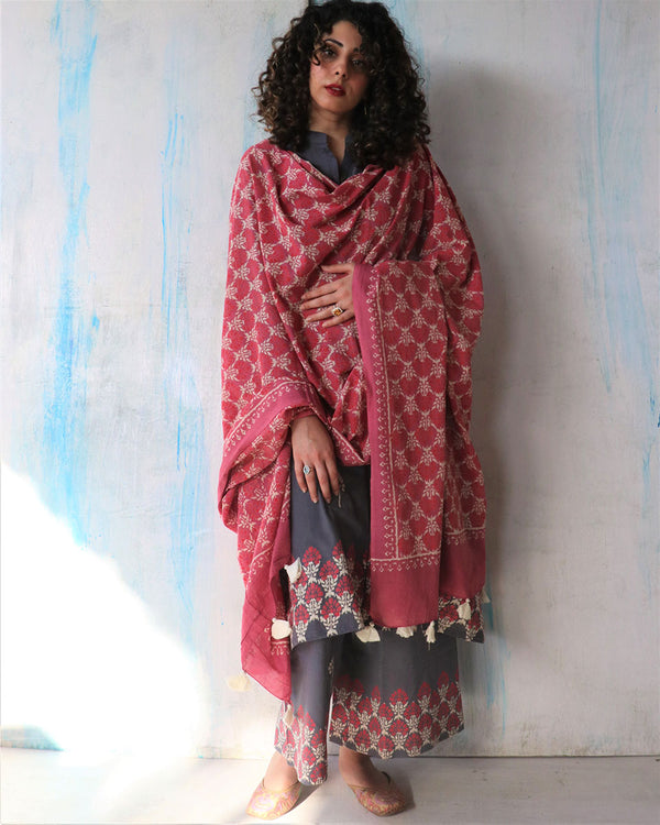 Pink Block Printed Cotton Dupatta