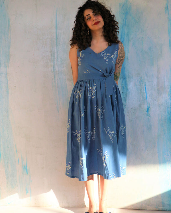 Blue Humming Bird Tie-Up Cotton Dress