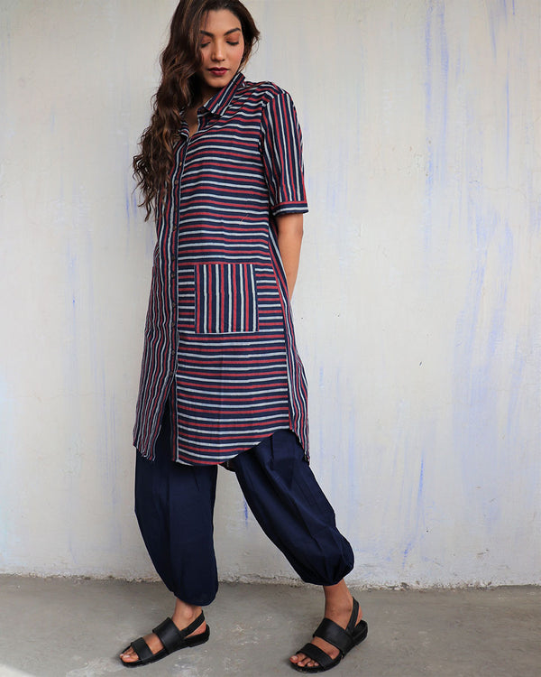 Blue Stripe Handprinted Pure Cotton Kurti Set of 2 - Slow