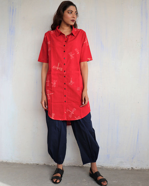 Red Dragonfly Handprinted Pure Cotton Kurti Set of 2 - Slow