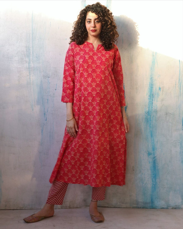 Pink Block Print Cotton Kurta Set