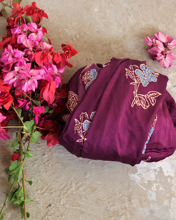 PURPLE BLOCKPRINTED MODAL SILK DUPATTA