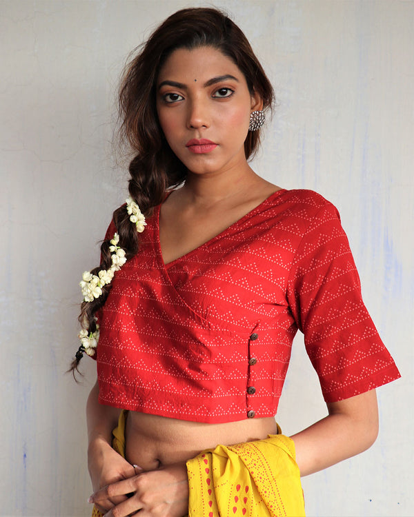 Marron angrakha Blockprinted cotton blouse