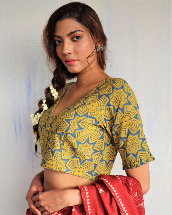 Yellow Blockprinted cotton blouse