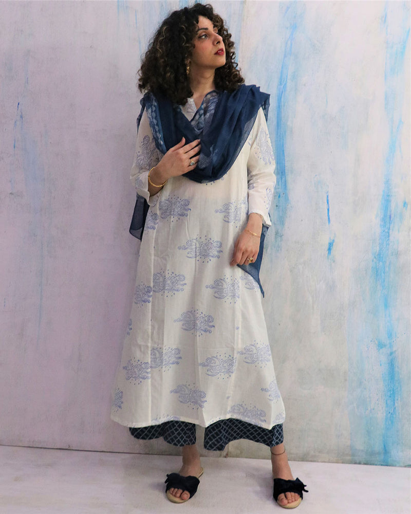 White & Blue Cloud Block Print Cotton Kurta Set of 2- WBS