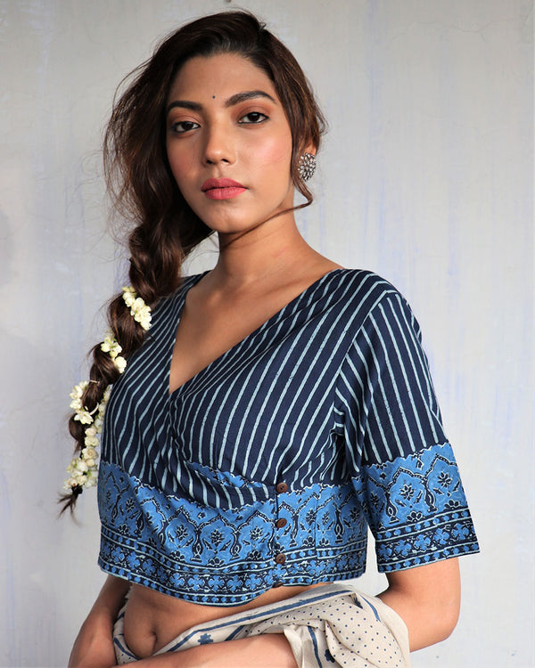 Blue angrakha Blockprinted cotton blouse