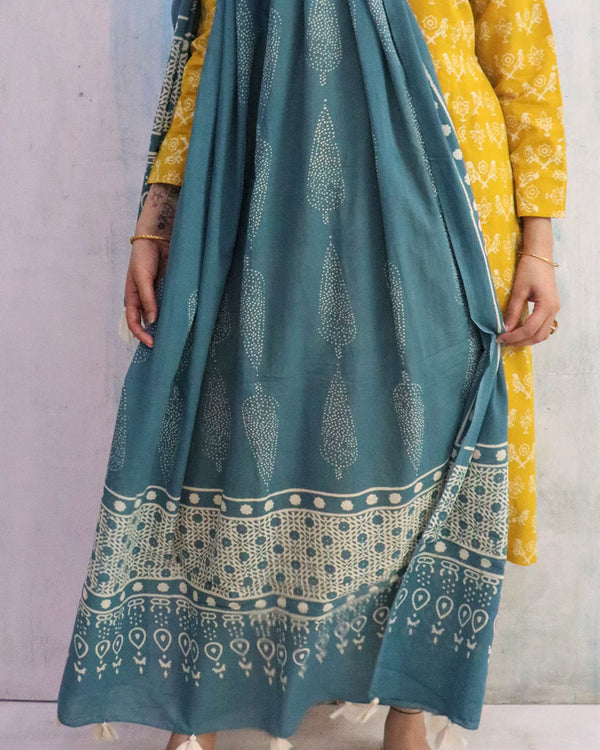 Steel Blue Block Printed Cotton Dupatta