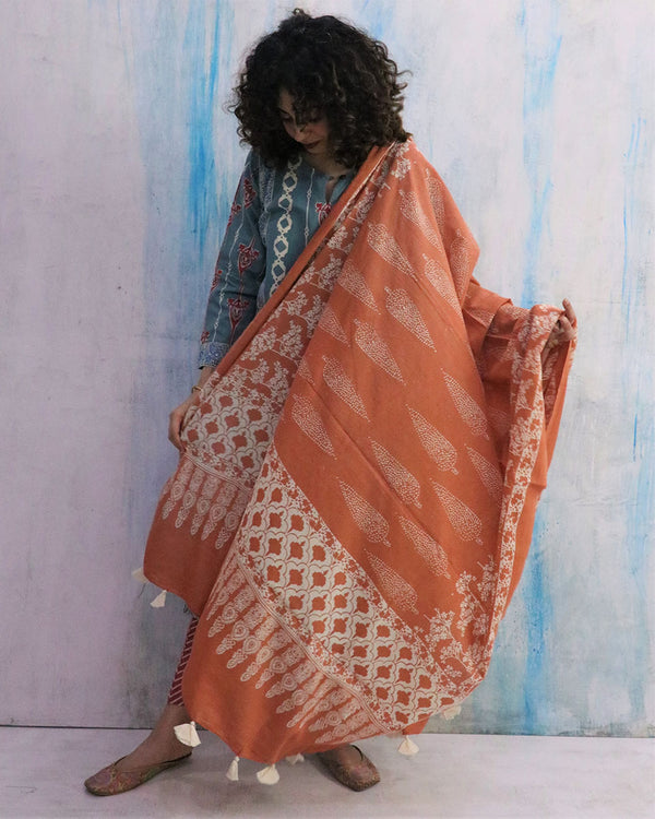 Rust Block Printed Cotton Dupatta