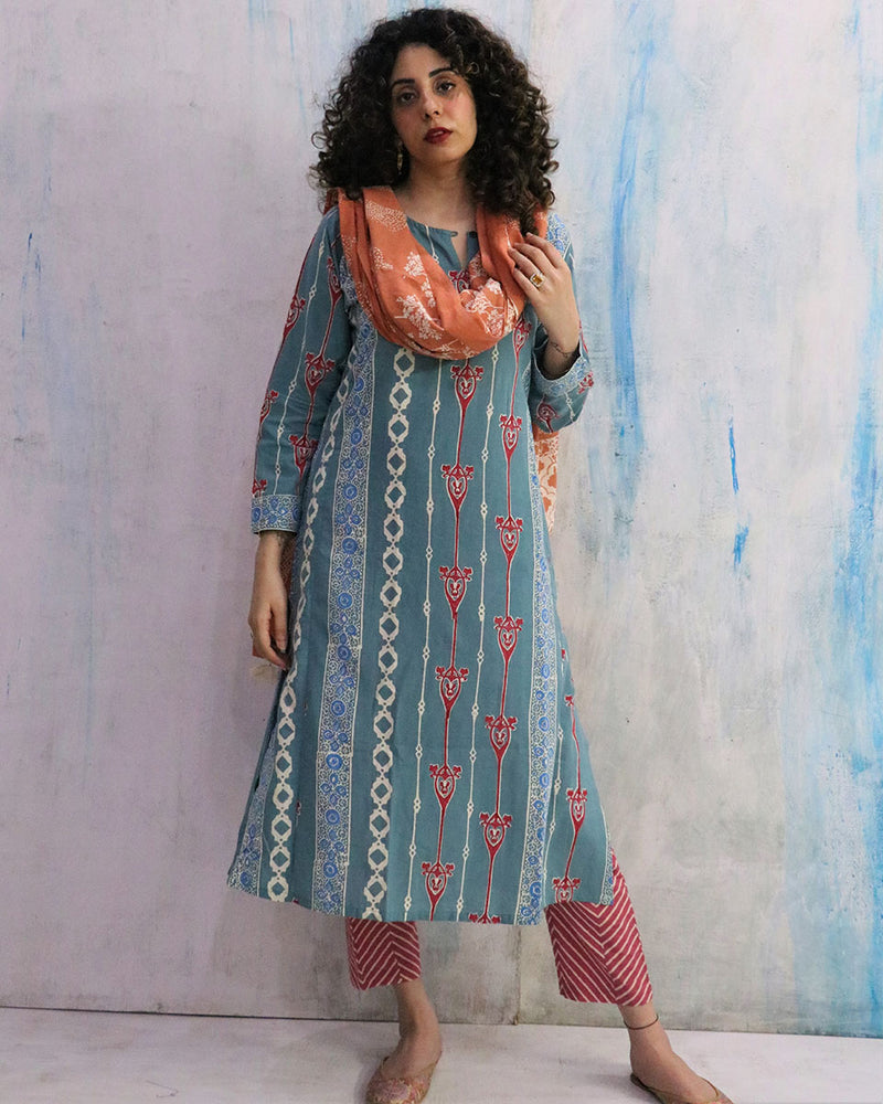 Blue & Pink Block Print Cotton Kurta Set