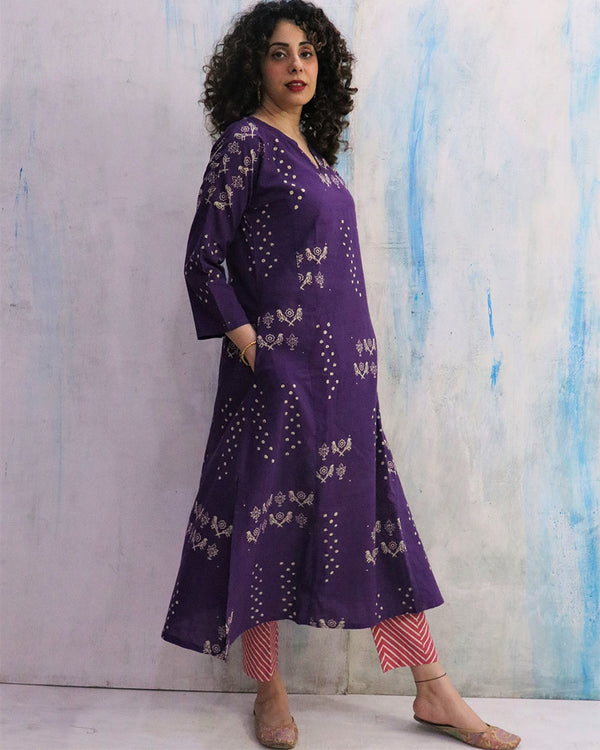 Purple & Pink Block Print Cotton Kurta Set