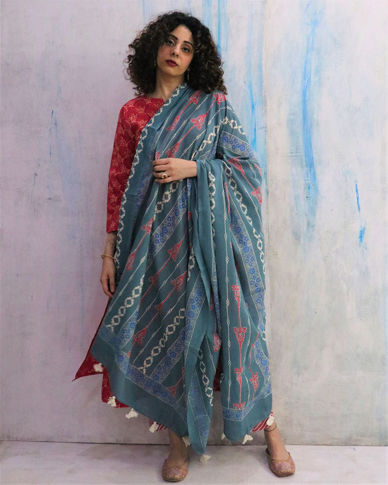 Teal and Pink Block Printed Cotton Dupatta