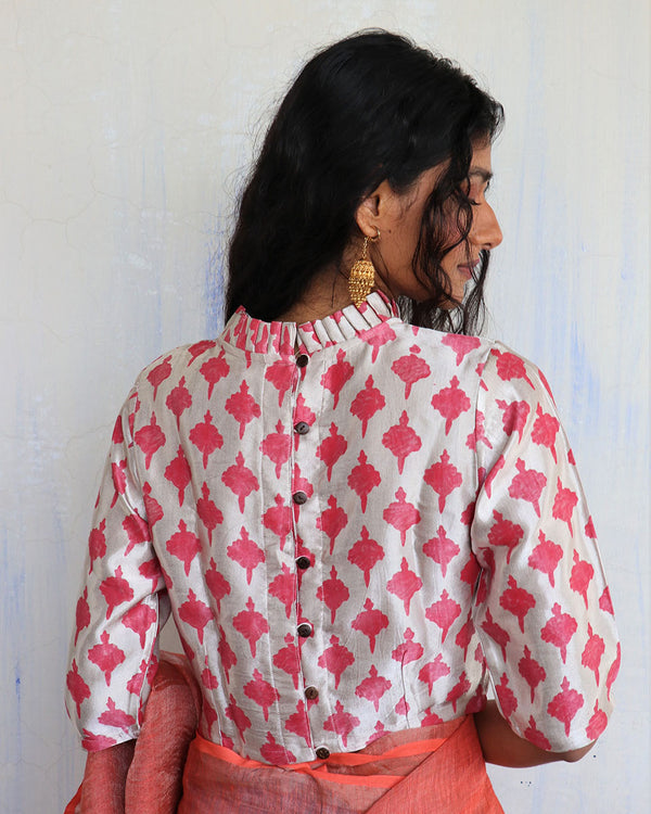 Cream Pink Blockprinted Mashru Silk Blouse