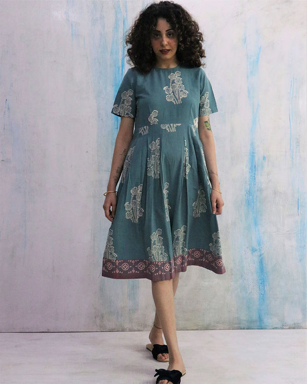 Teal Gathered Block Print  Cotton Dress