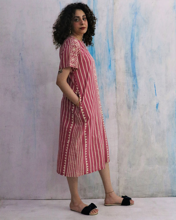 Pink Block Print Cotton Dress