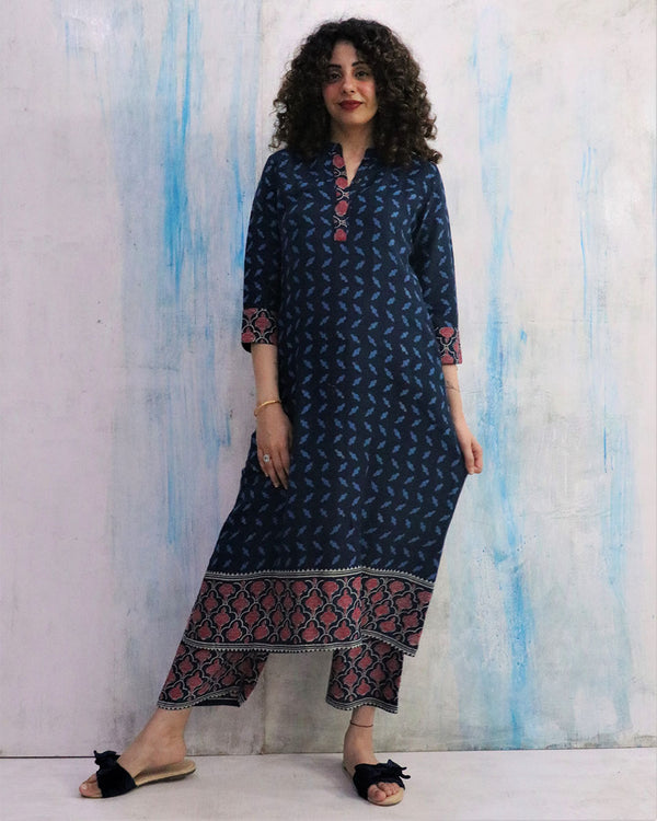 Blue Border Block Print Cotton Silk Kurta Set of 2- WBS