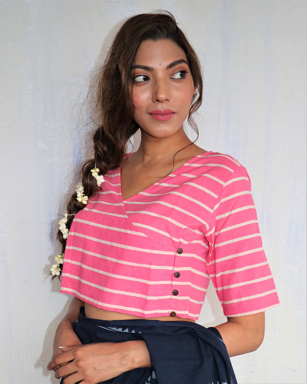 Pink Blockprined angarkha Cotton Blouse