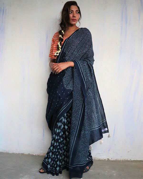 Blue blockprinted cotton mul saree - GOD